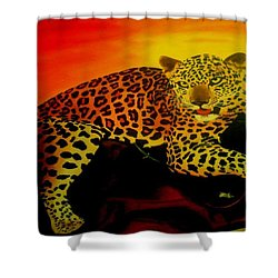 Leopard On A Tree Shower Curtain
