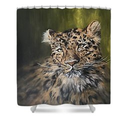 Leopard Relaxing Shower Curtain by Jean Walker