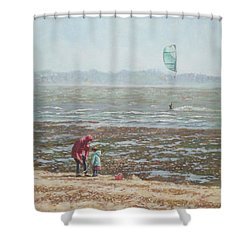 Lepe Beach Windy Winter Day Shower Curtain by Martin Davey