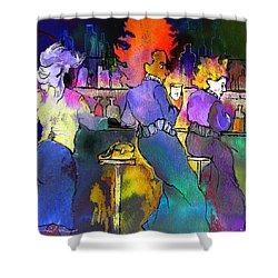 Les Filles Du Cafe De La Nuit Shower Curtain by Miki De Goodaboom
