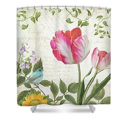 Les Magnifiques Fleurs IIi - Magnificent Garden Flowers Parrot Tulips N Indigo Bunting Songbird Shower Curtain by Audrey Jeanne Roberts