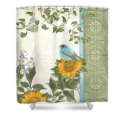 Les Magnifiques Fleurs Iv - Secret Garden Shower Curtain by Audrey Jeanne Roberts