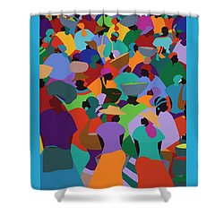 Les Palmes Market Haiti Shower Curtain