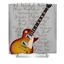 Les Paul Songs T-shirt Shower Curtain by WB Johnston