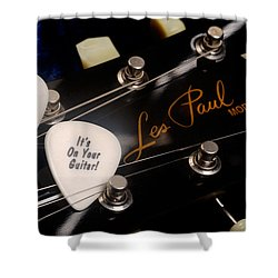 Les Paul's Guitar Pick On Gibson Headstock By Gene Martin Shower Curtain