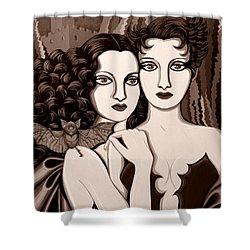 Les Vamperes In Sepia Tone Shower Curtain by Tara Hutton