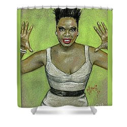 Shower Curtain featuring the drawing Leslie Jones by P J Lewis