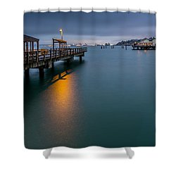 Less Davis Pier Commencement Bay Shower Curtain by Rob Green