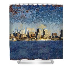 Shower Curtain featuring the mixed media Less Wacky Philly Skyline by Trish Tritz