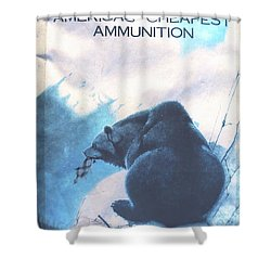 Lesters Ammo Sign Shower Curtain