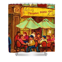 Lesters Monsieur Smoked Meat Shower Curtain by Carole Spandau
