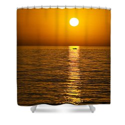 Lesvos Sunset Shower Curtain by Meirion Matthias