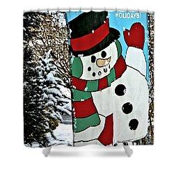 Let It Snow - Happy Holidays Shower Curtain by Carol F Austin