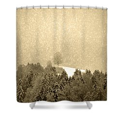 Shower Curtain featuring the photograph Let It Snow - Winter In Switzerland by Susanne Van Hulst