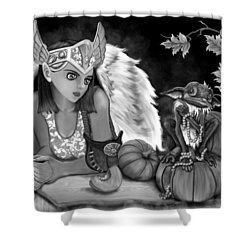 Let Me Explain - Black And White Fantasy Art Shower Curtain