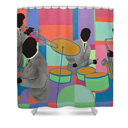 Let The Band Play Shower Curtain by Angelo Thomas