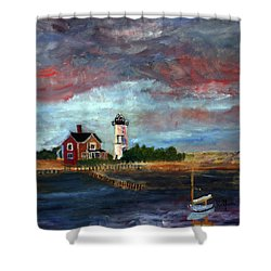 Shower Curtain featuring the painting Let There Be Light by Michael Helfen