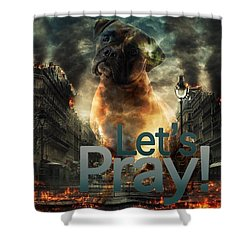 Shower Curtain featuring the digital art Let Us Pray-2 by Kathy Tarochione