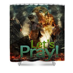 Shower Curtain featuring the digital art Let Us Pray by Kathy Tarochione