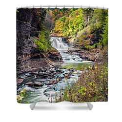 Letchworth Lower Falls In Autumn Shower Curtain