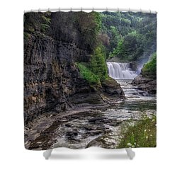 Shower Curtain featuring the photograph Letchworth Lower Falls - Summer by Mark Papke