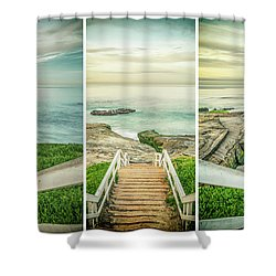 Let's Go Down To Windansea Shower Curtain by Joseph S Giacalone