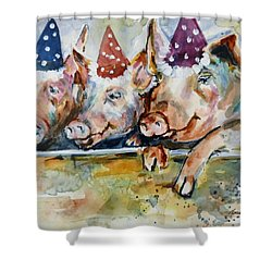 Let's Have A Piggy Party Shower Curtain by P Maure Bausch