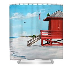 Let's Meet At The Red Lifeguard Shack Shower Curtain