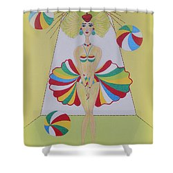 Shower Curtain featuring the painting Let's Play Balls by Marie Schwarzer