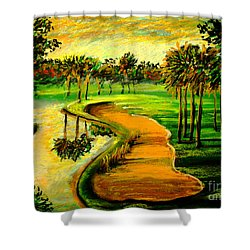 Shower Curtain featuring the painting Let's Play Golf by Patricia L Davidson