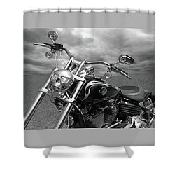 Shower Curtain featuring the photograph Let's Ride - Harley Davidson Motorcycle by Gill Billington