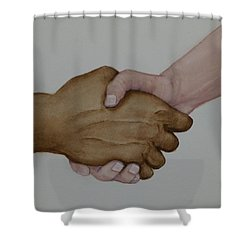 Let's Shake Hands On It Shower Curtain by Kelly Mills