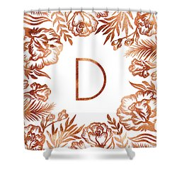Letter D - Rose Gold Glitter Flowers Shower Curtain