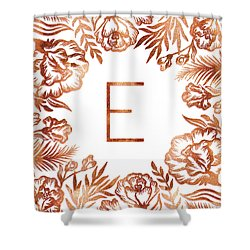 Letter E - Rose Gold Glitter Flowers Shower Curtain