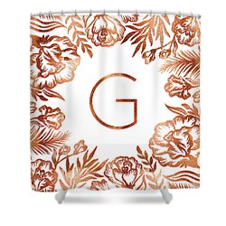 Letter G - Rose Gold Glitter Flowers Shower Curtain