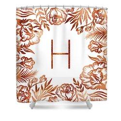 Letter H - Rose Gold Glitter Flowers Shower Curtain
