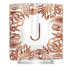 Letter J - Rose Gold Glitter Flowers Shower Curtain