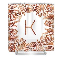 Letter K - Rose Gold Glitter Flowers Shower Curtain