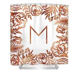 Letter M - Rose Gold Glitter Flowers Shower Curtain
