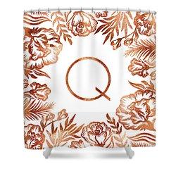 Letter Q - Rose Gold Glitter Flowers Shower Curtain