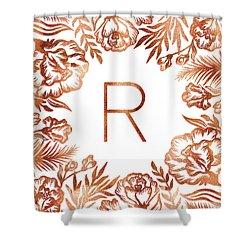 Letter R - Rose Gold Glitter Flowers Shower Curtain