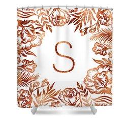Letter S - Rose Gold Glitter Flowers Shower Curtain