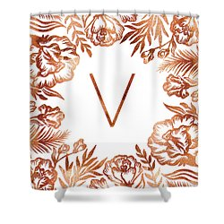 Letter V - Rose Gold Glitter Flowers Shower Curtain
