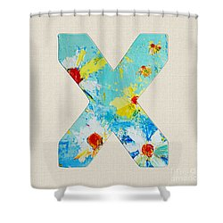 Letter X Roman Alphabet - A Floral Expression, Typography Art Shower Curtain