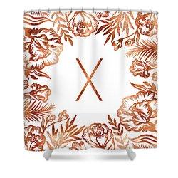 Letter X - Rose Gold Glitter Flowers Shower Curtain