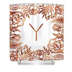 Letter Y - Rose Gold Glitter Flowers Shower Curtain