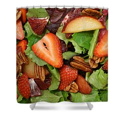 Shower Curtain featuring the digital art Lettuce Strawberry Plum Salad by Jana Russon