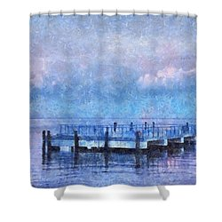 Shower Curtain featuring the mixed media Lewes Pier by Trish Tritz