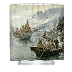 Lewis And Clark On The Lower Columbia River Shower Curtain by Charles Marion Russell
