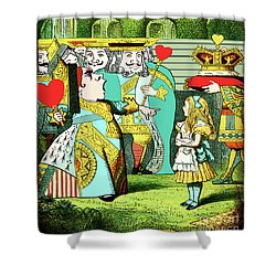 Lewis Carrolls Alice, Red Queen And Cards Shower Curtain by Marian Cates
